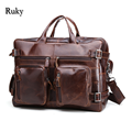 Leathe genuino documento de negocios hombres bolsa de viaje mochila 2016 moda hombre de cuero real de oficina bolsa de diseñador