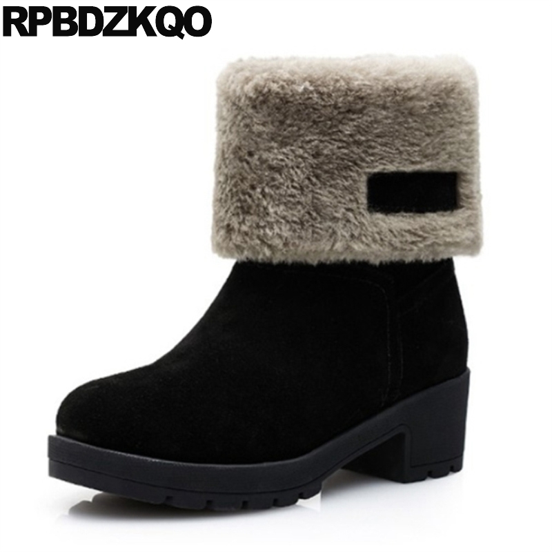 Ankle Fur Round Toe Big Size Winter Snow Boots Warm Ladies Suede Slip On Shoes Black Flat Chinese 2017 Fashion Female New Mid