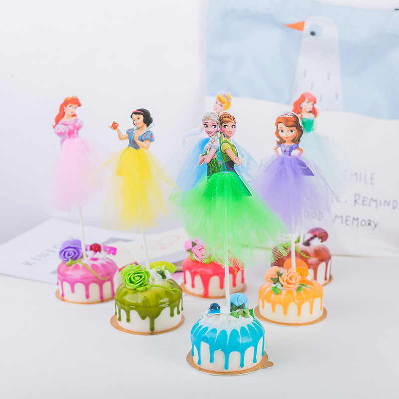 1pcs Disney Frozen Princess Birthday Party Decorations Kid Cupcake Cake Topper For Girls Happy Birthday Party Cake Supplies