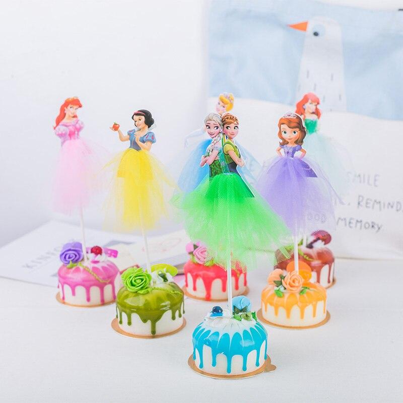 Fine 1Pcs Cartoon Princess Birthday Party Decorations Kid Cupcake Cake Funny Birthday Cards Online Inifodamsfinfo