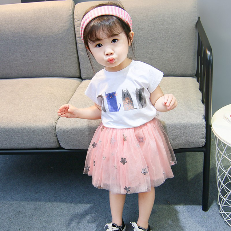 1-6T Summer 2PCS New Fashion Girls Short Sleeve Cat T-shirt+Sequin Embroidered Mesh Skirt Two-piece Set Baby Casual Suit G1