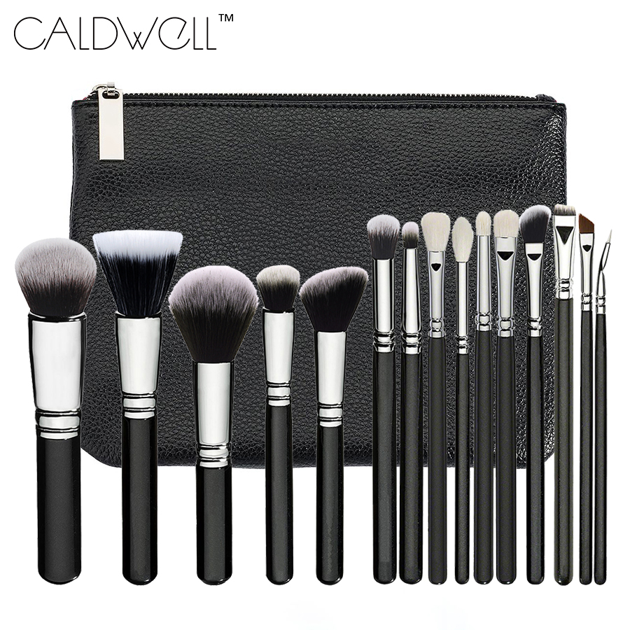 New Professional 15PCS Makeup Brushes Set Tools Make-up Toiletry Kit Make Up Brush Set Case Cosmetic Foundation Brush PU Bag free shipping durable 32pcs soft makeup brushes professional cosmetic make up brush set