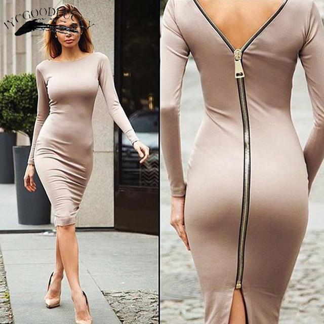 2017 Sheath Bodycon Dress Black Long Sleeve Party Dresses Women Office Lady  Back Full Zipper Robe Sexy Femme Pencil Tight Dress 947e9156f0dc