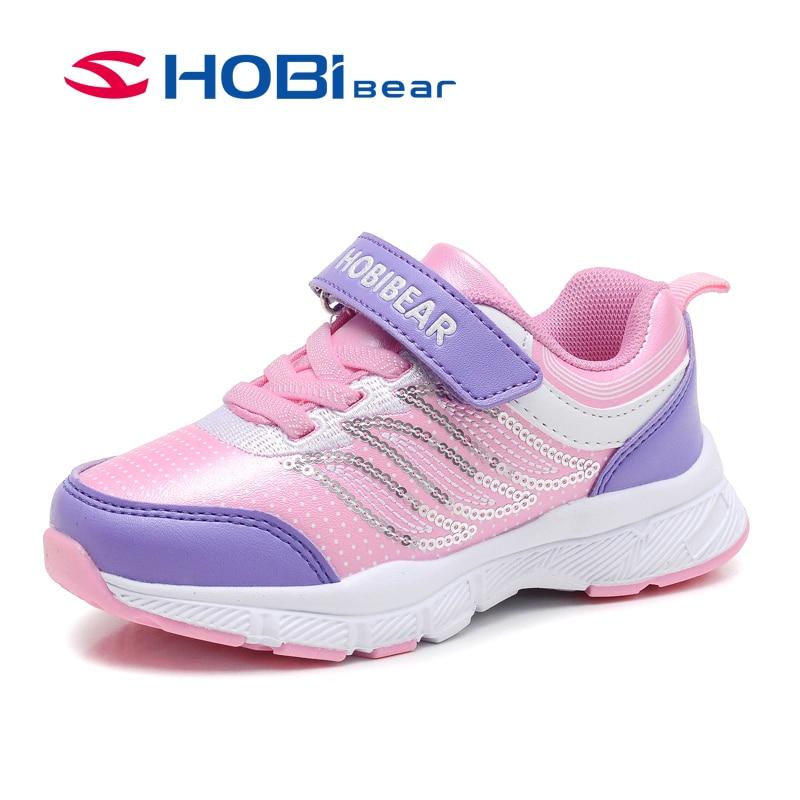 HOBIBEAR New Glitter Girls Sneakers Kids Sport Shoes For Girl Sneaker Pink  Toddler Children Breathable Student Casual Shoes 80c1fcf03b31