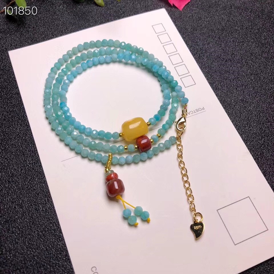 Wholesale 4mm beads Natural Amazonite Bracelet with Natural Baltic Amber Red Agate Women Fashion Jewelry