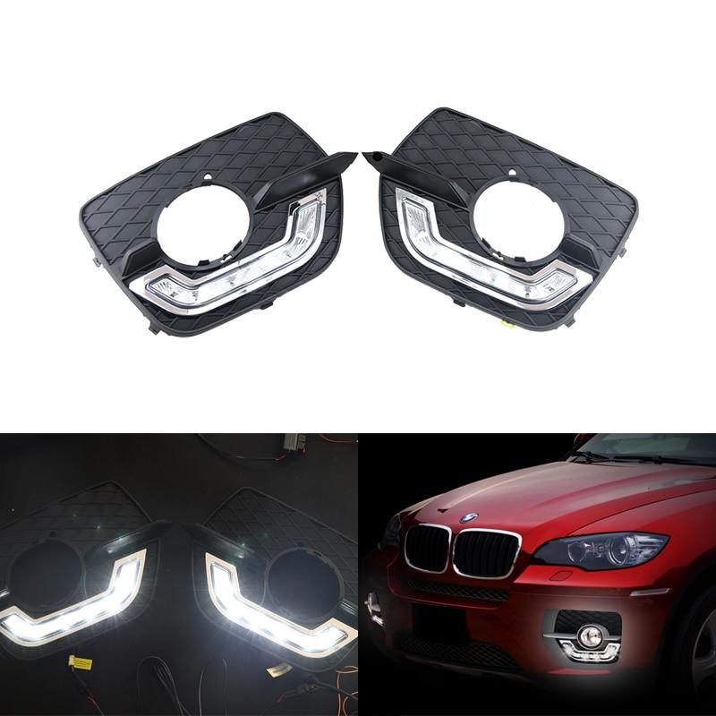 2x White LED Driving Fog Lamp DRL Daytime Running Light For BMW X6 E71 2009-2012