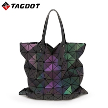 Famous Brands Women BaoBao Bag Geometry female Large capacity Ladies Folding Bags Luminous Handbags PU Casual