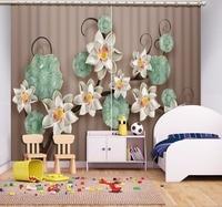 현대 커튼 Digtal 인쇄 3D 커튼 커튼 거실 침실 회색 커튼 패션 꽃 커튼