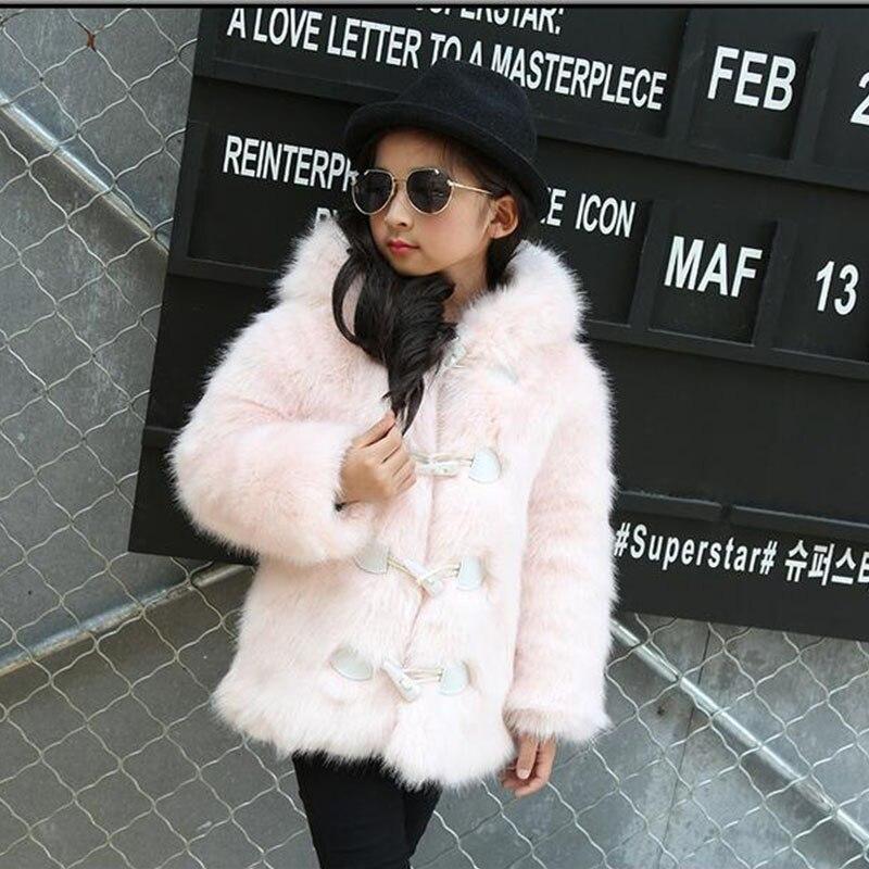 Kids Coat 2017 New Children Faux Fur Coat Winter Warm Grils Warm Outerwear Short Coat Gradient Color Baby Faux Fur Coat MHC08 pearl beading faux fur coat