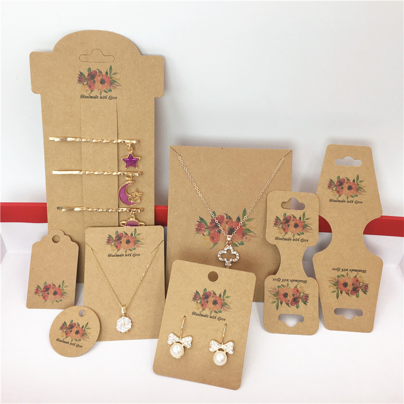 50 Pcs Kraft Handmade Fashion Jewelry Accessories Cards,Necklace/Earring/Hairpin/Pendant Packing Cards Displays Cards