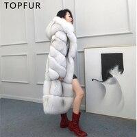 TOPFUR 2018 New Luxury Natural Fox Fur Coat For Women Winter Fur Jacket Fashion Denmark Imported Fox Fur 100cm Long Real Fur