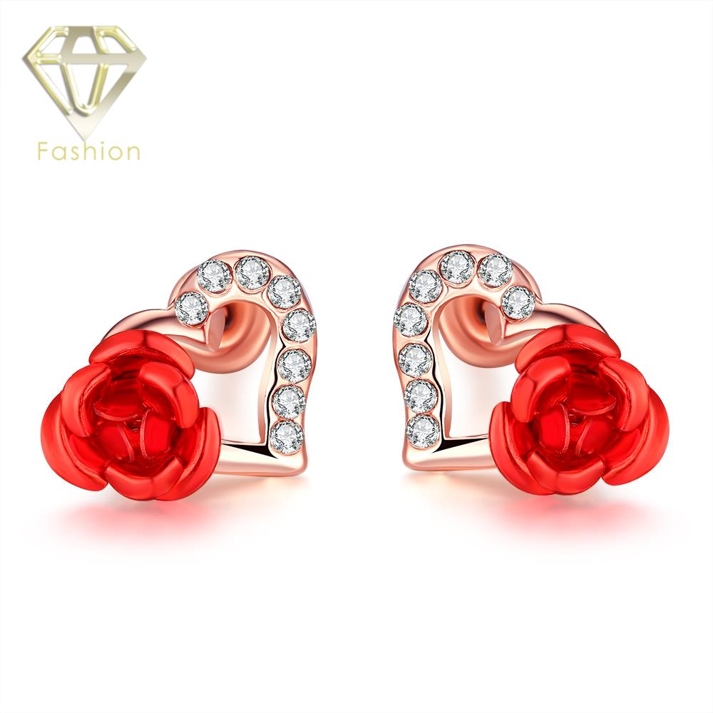 Sweet Love Heart Stud Earrings Red Rose Flower Earrings With Cubic Zirconia  Stones Rose Gold Color