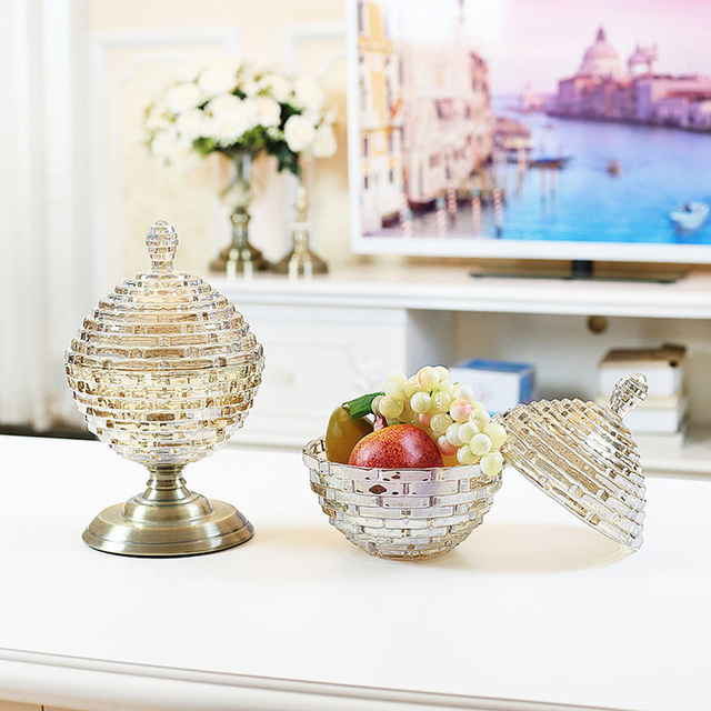 European Luxury Glass Bottles Home Decor Crafts Dust Proof Stand