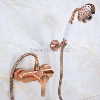 Antique Red Copper Bath Shower Faucets With Hand Sprayer Shower Head Bathroom Tap lna291