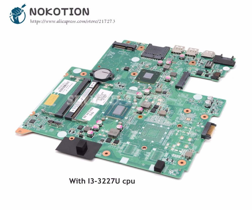 NOKOTION For HP pavilion 14 14-B Laptop Motherboard I3-3227U CPU 718726-501 718726-001 719086-501 DA0U33MB6D0 Main Board nokotion for hp sleekbook 14 b laptop motherboard 714618 501 715866 501 da0u33mb6d0 with i3 2367m cpu onboard