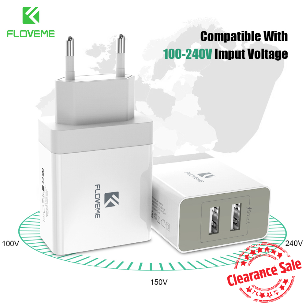 FLOVEME 5V 3.4A Smart USB Universal Portable Charger For Samsung Travel Charger Adapter For iPhone Mobile Phone Charger For iPad