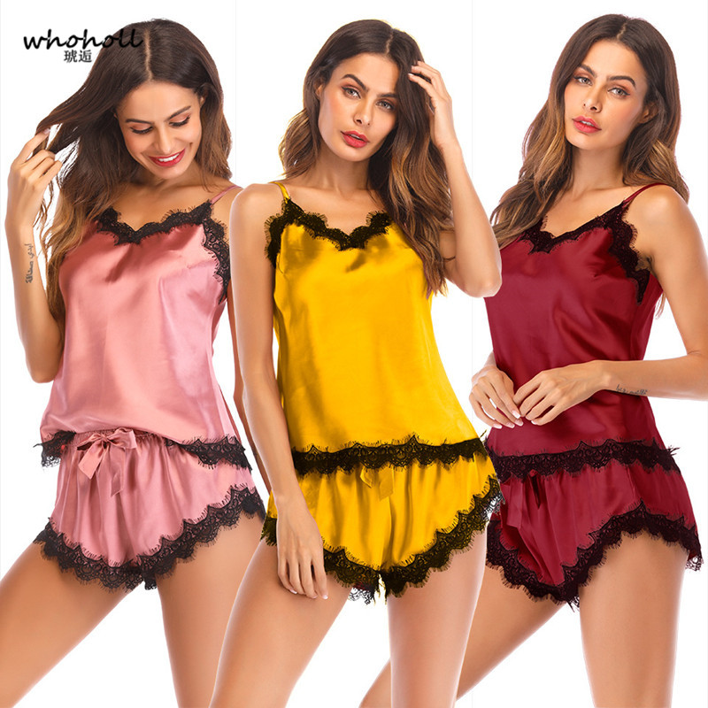 Whoholl Women Summer Sexy Pajamas Set Lace Night&Short Pant Lounge Sleepwear Suit Deep V Sleeveless Suspenders Lingerie 3 Colors