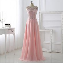 Pink Long Sparkle Bling Bling Prom dresses 2019 with Hollow Back A line  Chiffon Beading Luxury Evening Party dress High quality c8f297b399ff