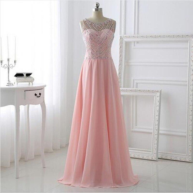 Rose longue étincelle Bling robes de bal 2019 avec dos creux une ligne en mousseline de soie perles de luxe robe de soirée de haute qualité