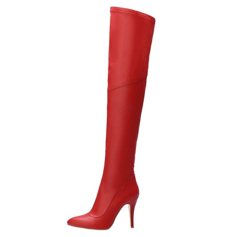 Sexy Montar Tamaño Rodilla Sjjh rojo Toe De Punta Q353 La Botas Sobre Mujeres Negro Con Invierno Moda Gran Tacón Largo Felpa Cremallera Cn4n5Aqw