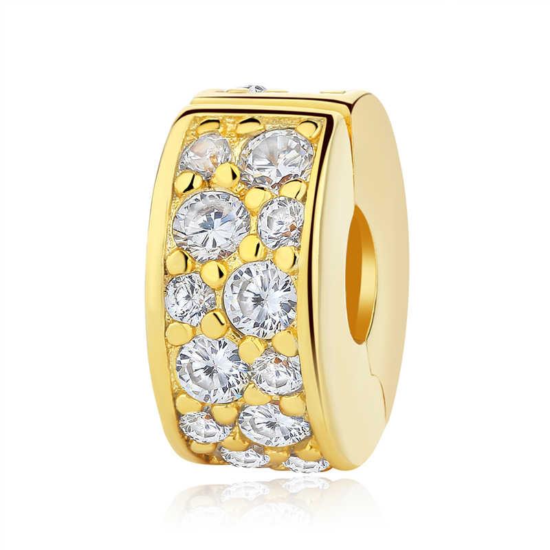 Authentic 925 Prata Esterlina Encantos Clipe Stopper Bead Charme Brilhando Elegância Cristal Fit Pandora Pulseiras Mulheres Jóias Diy