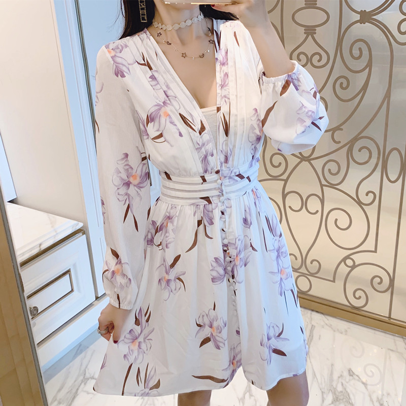 BLLOCUE Europe Runway Designer Dress 2019 High Quality Women s Lantern Sleeve Sexy V neck Floral