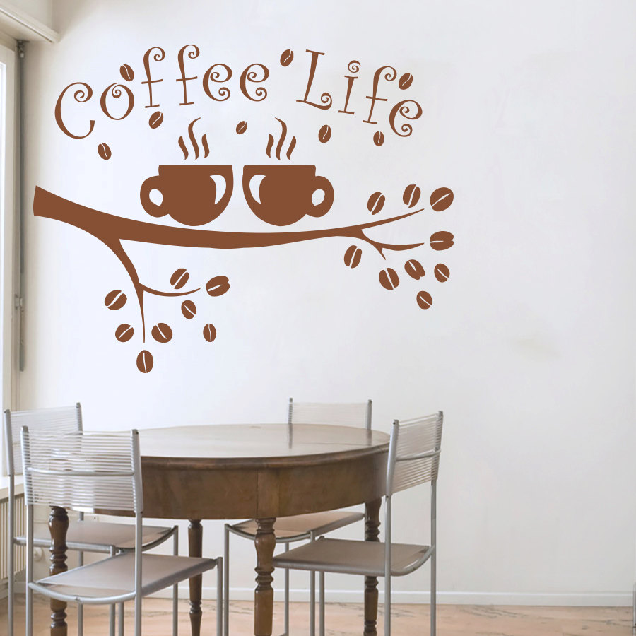 coffee life tree branches wall decal coffee tree wall sticker for