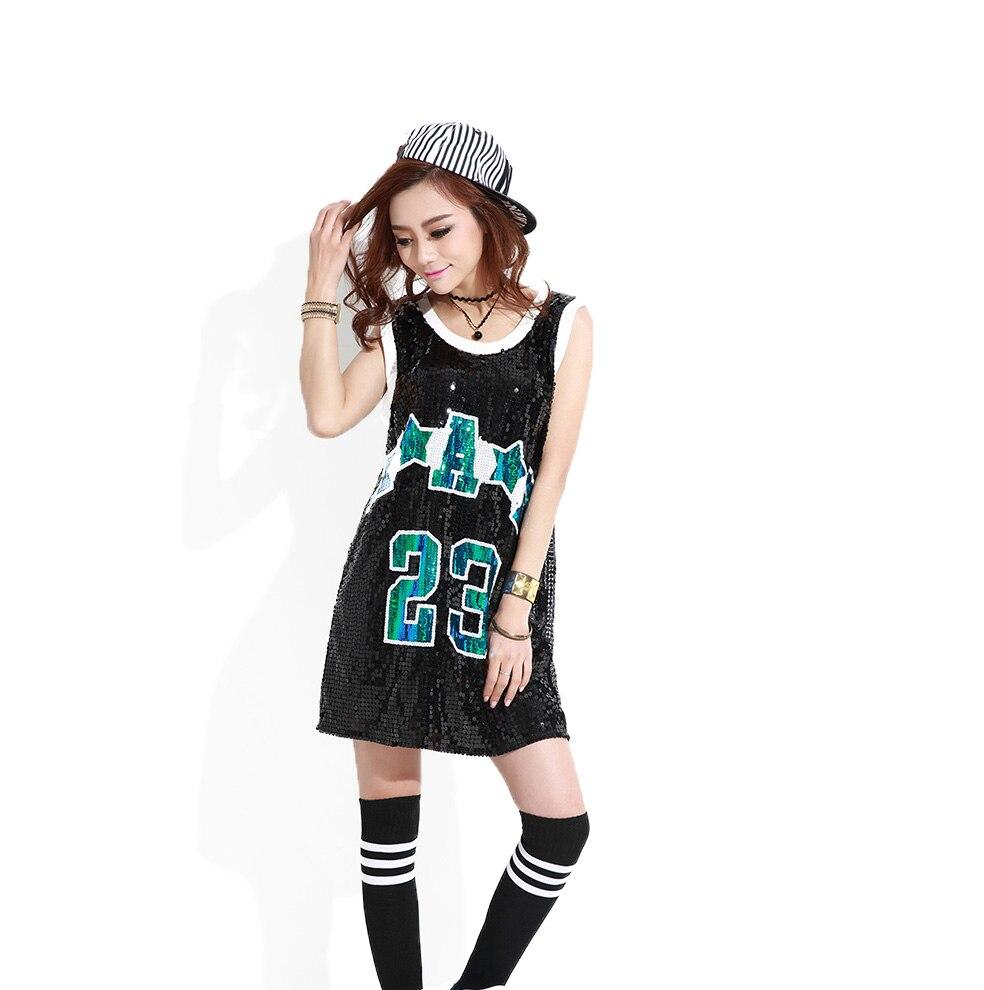 Mujeres hip hop lentejuelas Tops letra 23 largo SequinT Shirt vestido  negro plata rojo suelto tanque vestido Paillette Jazz Dance Wear en  Vestidos de La ... e4179ce2fd0