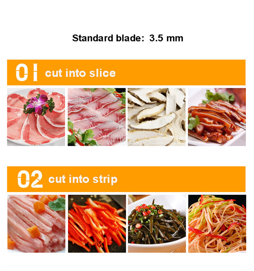 3.5mm Blade Spacing Commercial Meat Slicer Cutter Stainless Steel Electric Automatic Meat Slice Strip Cutting Machine 400kg/h 1