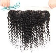 עלי גרייס שיער ברזילאי עמוק גל 13x4 אוזן לאוזן משלוח/התיכון חלק תחרה פרונטאלית סגירת 100% רמי שיער טבעי 10 20 inch