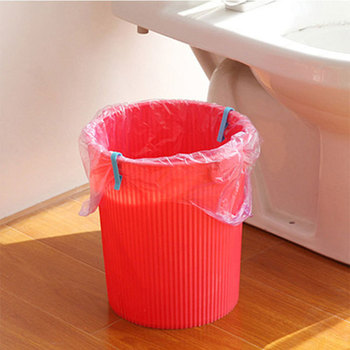 2pcs Slip proof Trash Can Clamps Garbage Bag Holders Household Trash Can Junk Edge Bag Wastebaskets Can Waste Bin Dustbin Clip image
