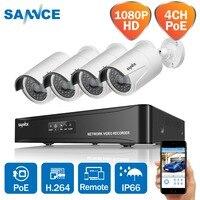 SANNCE 4CH 1080 P сети POE NVR комплект видеонаблюдения Системы 2.0MP IP Камера Открытый ИК Ночное видение Камеры Скрытого видеонаблюдения Системы