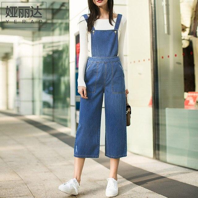 6ad50c7acc384 YERAD Denim Salopette Jambe Large pantalon de Femmes Combishort Jeans Body  Mode Vintage Barboteuses 100%