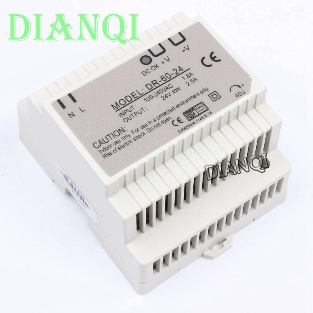 DIANQI Din rail power supply 60w 24V power suply 24v 60w ac dc converter dr-60-24 good quality OEM ac dc dr 60 5v 60w 5vdc switching power supply din rail for led light free shipping