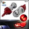 4 шт. Красный Высокая Мощность Макс 20 Вт CRE'E LED 7443 7444NA T20 СВЕТОДИОДНЫЕ Лампы Для Поворота Сигнальных Огней, задние Фонари, стоп-Сигналы, ярко-Красный