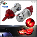 4pcs Red High Power Max 20W CRE'E LED 7443 T20 7444NA LED Bulbs For Turn Signal Lights, Tail Lights, Brake Lights, Brilliant Red