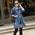 Плюс Размер Женщин Джинсовая Куртка Хлопка Джинсы Пальто 2017 Мода Осень Отверстие Дамы Длинные Джинсовые Пальто Вскользь Тонкий Casacos Femininos