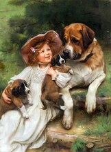 Новинка, Набор для вышивки крестиком с изображением девушки и собаки, стильная вышивка, вышивка крестиком с узорами, холст 14 карат, сделай сам, художественный Декор ручной работы