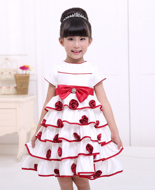 abdeb7de8a9 US $21.99 |cute 2 8 years old multi ruffles flowers bow children birthday  casual little girl hand embroidery designs for baby dress-in Dresses from  ...