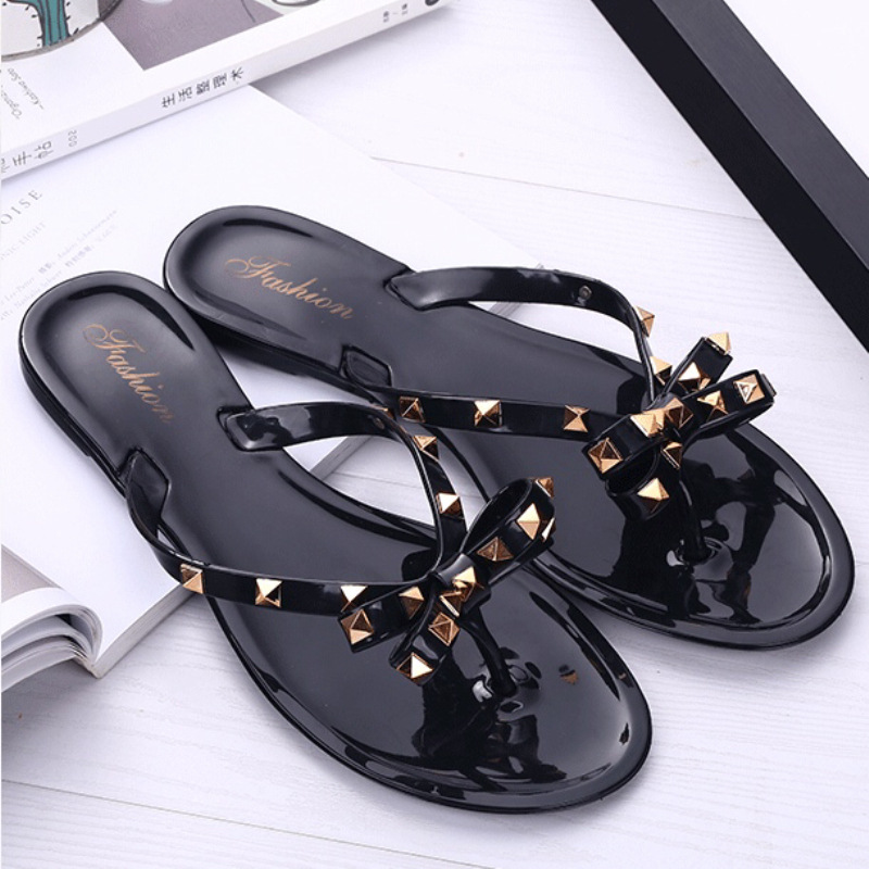 bfc33167a15e women sandals flat jelly shoes bow V flip flops stud beach shoes summer  rivets slippers Thong 2018 fashion sandals