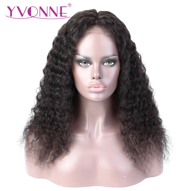 YVONNE Brazilian Virgin Curly Human Hair Wig Lace Front Wigs For Black Women  Natural Color cfe27cf1b