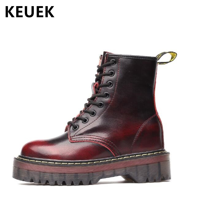 Autumn Winter Women shoes Increased Internal Motorcycle boots Genuine leather Vintage boots Warm Plush Snow boots 033Autumn Winter Women shoes Increased Internal Motorcycle boots Genuine leather Vintage boots Warm Plush Snow boots 033