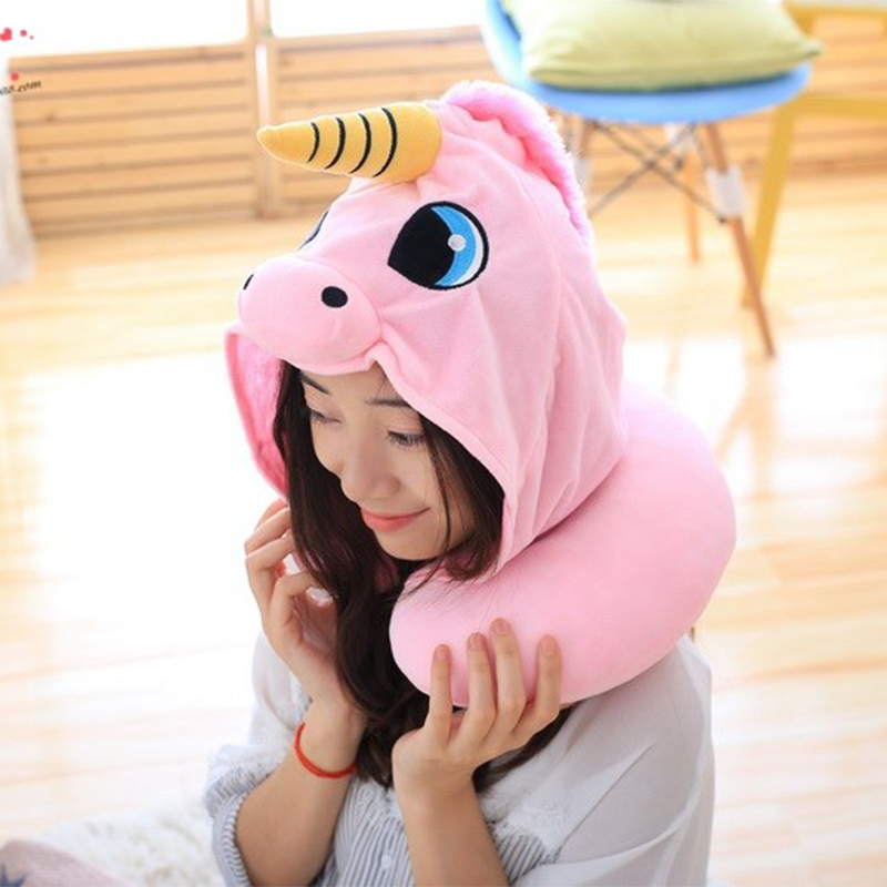 Hooded Unicorn Travel Pillow 1