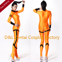 Free Shipping DHL Hot Halloween Sexy Costumes Orange Lycra Zentai Spandex Unisex Catsuits Super Hero Costume For Woman Plus Size