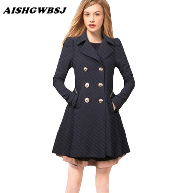 2016 New Spring Autumn Fashion Women Trench Coat Turn-Down Collar Double Breasted Long Outerwear Slim Overcoats ZP197