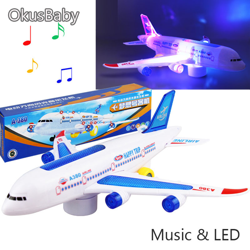 28cm Children Battery Music And Lights With Wheels Toy Vehicle Airplane Airliner Toys Model Kids Christmas Gift