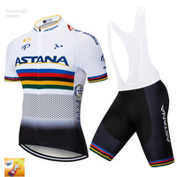 2019 White Pro ASTANA Cycling Jersey 16D Gel Pad Bike Shorts Set Ropa Ciclismo Quick Dry Racing Team Bicycling Maillots Culotte