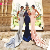 2016 Elegant Charming Mermaid Evening Dress Halter Lace Appliques Sexy Backless Prom Bridesmaid Dress Z025