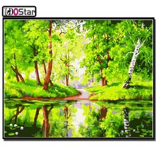 DIY Paintings By Numbers landscape nature scenery river green tree Drawing by Numbers Canvas Oil Paintings wall decor(China)
