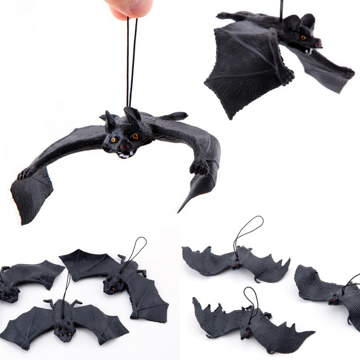 new arrival halloween tricky props amusing rubber simulation bat wall hanging halloween masquerade party decoration